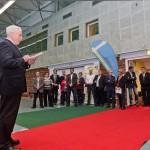 Begrüßung von Dr. Michael Wilhelm zur Offizielle Neueröffnung der Jahnsporthalle     Foto: Gernot Menzel