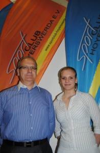 Präsident Torsten Ruban-Zeh und Neu-Studentin Angie Scherzberg