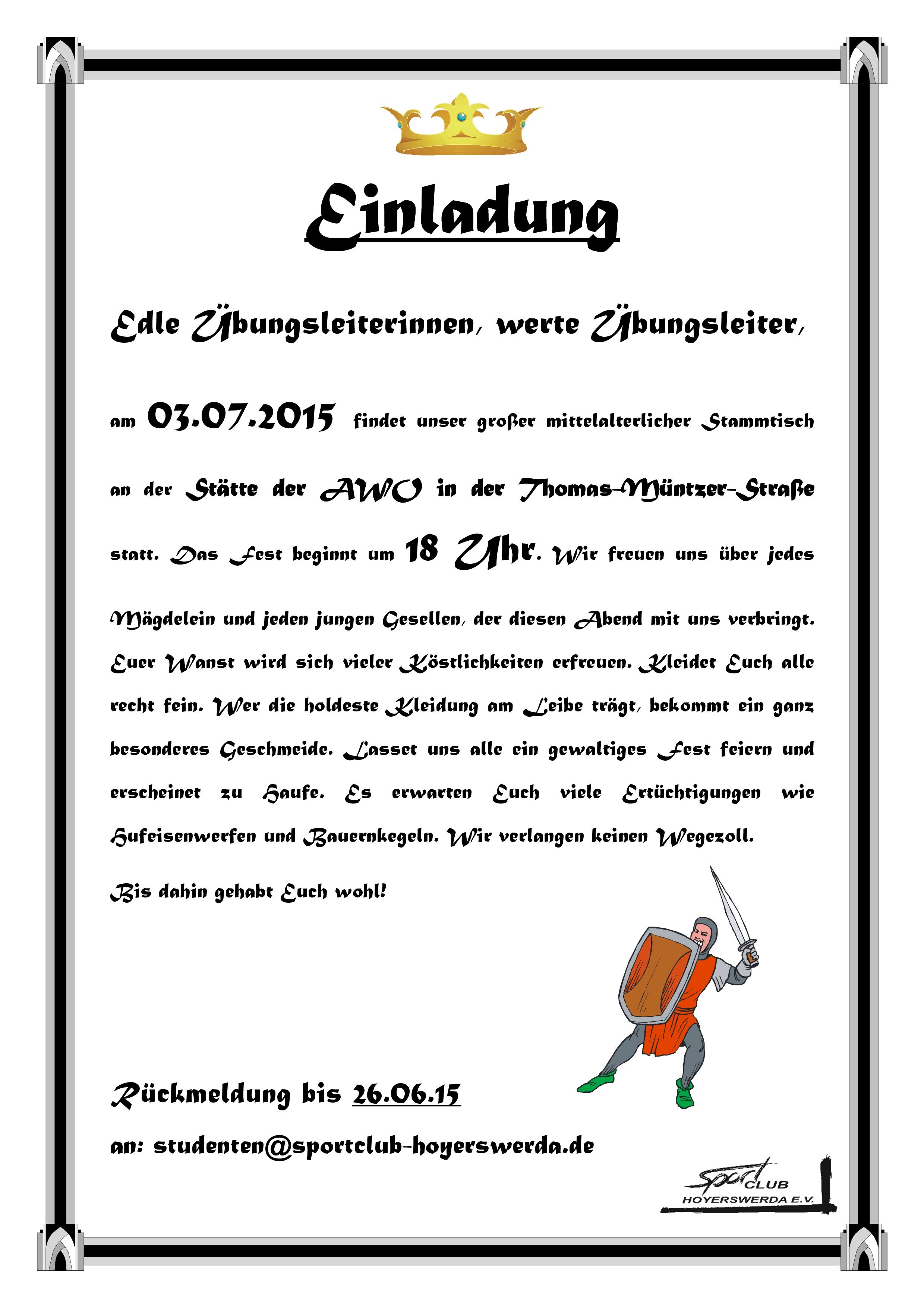 Übungsleiterstammtisch 2015 | sportclub hoyerswerda e.v., Einladung
